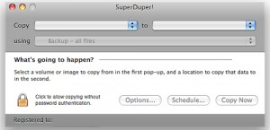 Backup existing system using SuperDuper or Time Machine