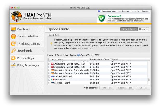 HideMyAss VPN feature 1: Speed guide