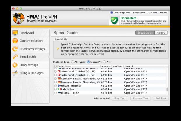 HideMyAss VPN feature 1: Speed guide