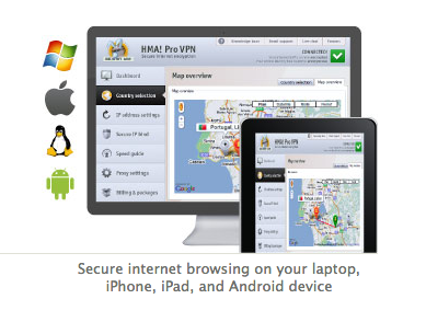 HideMyAss Secure VPN intrnet browsing on iPad mini
