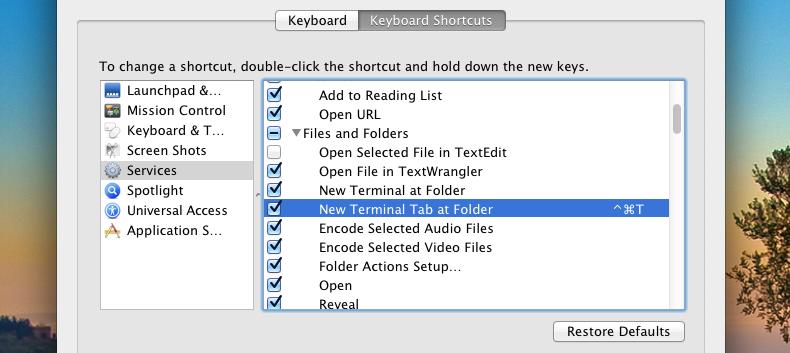 enable open terminal Tab at Folder adeepbite.com