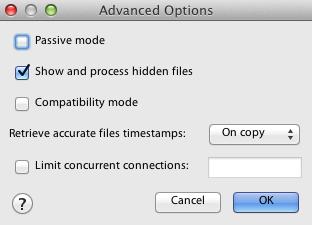 configure ftp program to show hidden files on the server
