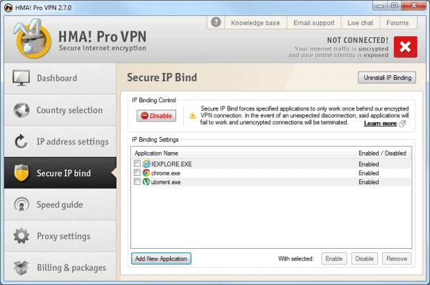 HideMyAss feature3: Secure IP Bind