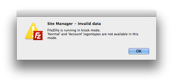 FileZilla is running in kiosk mode. 'Normal' and 'Account' logontypes are not available in this mode.