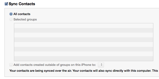 Empty Contacts in iTune