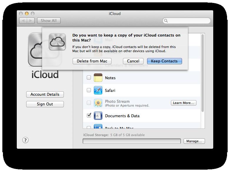 keep iCloud contacts on Mac