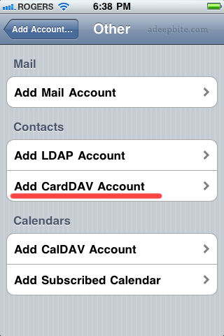 Add CardDAV account on iPhone