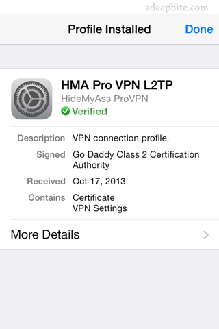 HMA pro VPN profile installation
