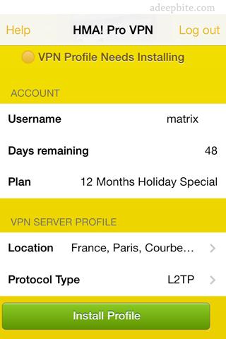 Install hidemyass pro vpn profile on iPhone or iPad