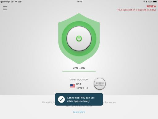 ExpressVPN - Connect screen on iPad
